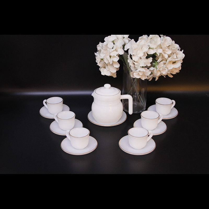 Bộ ấm trà Thủy tinh ngọc Mp USA HomeSet P3066HLPO trắng ngọc
