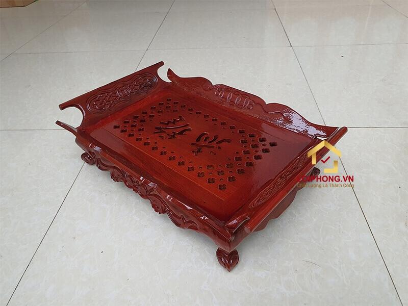 Khay trà gỗ hương chạm tiền 44x30x12 cm