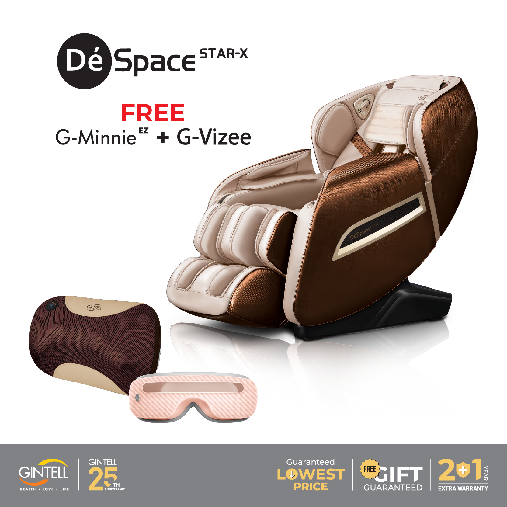 Ghế Massage Gintell DéSpace STAR-X [Tặng ngay] Máy Massage Mắt G-VIZEE + Đệm Massage G-Minnie EZ