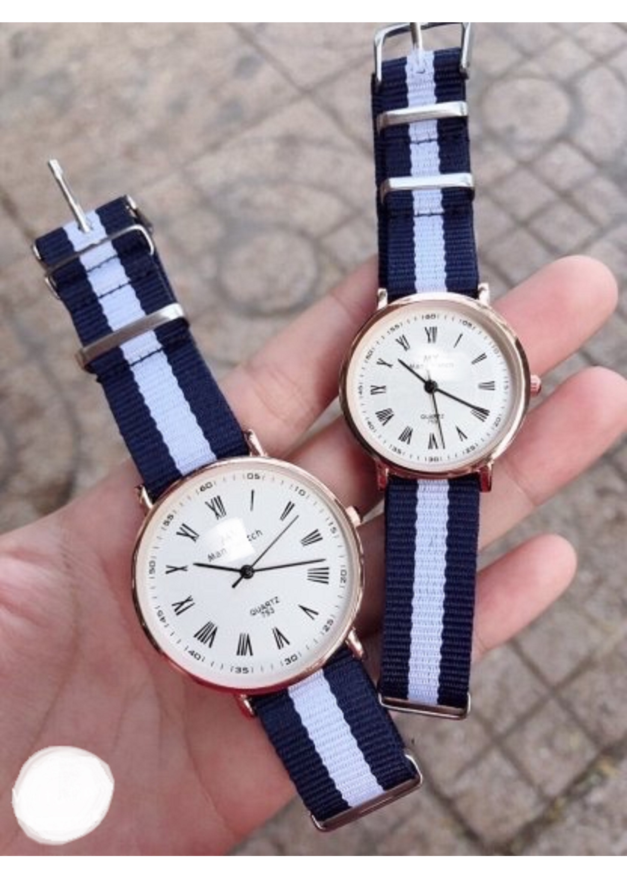 Đồng hồ dây vải thời trang cao cấp phối màu