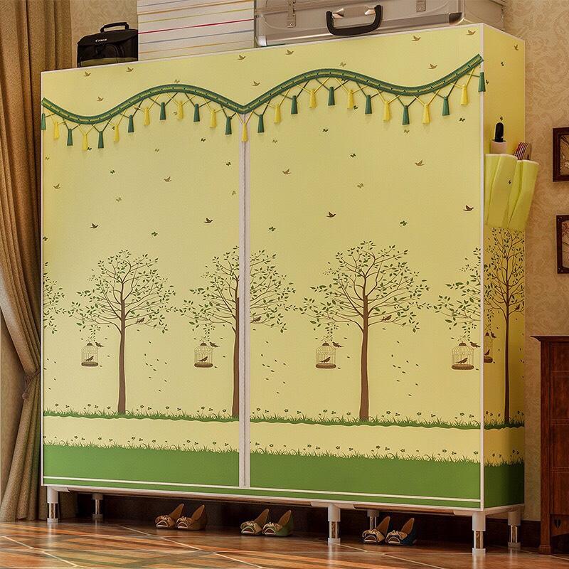 Tủ vải khung inox 2 buồng 6 ngăn đựng quần áo cao cấp