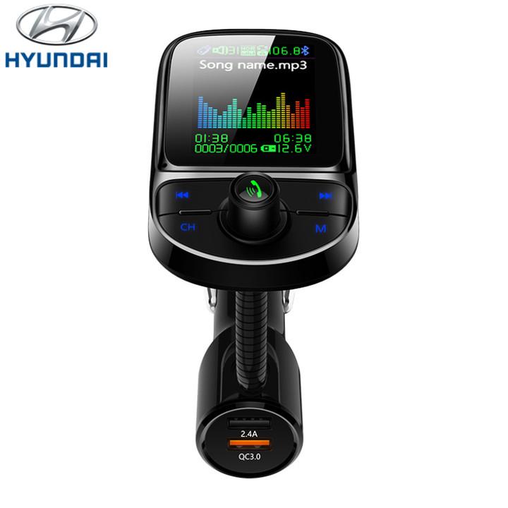 Tẩu nghe nhạc bluetooth 5.0 cao cấp Hyundai C85 kiêm cổng Sạc nhanh với QC 3.0 - Hàng nhập khẩu