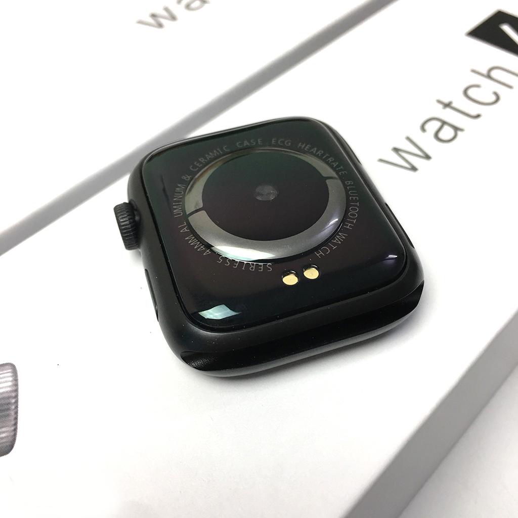 Đồng Hồ Thông Minh Watch 6 Kết Nối Bluetooth Nghe Gọi Zalo Messenger Báo Tin Nhắn Gmail (Viền Nhôm & Dây Cao Su) - hàng nhập khẩu - Màu Đen -4376-