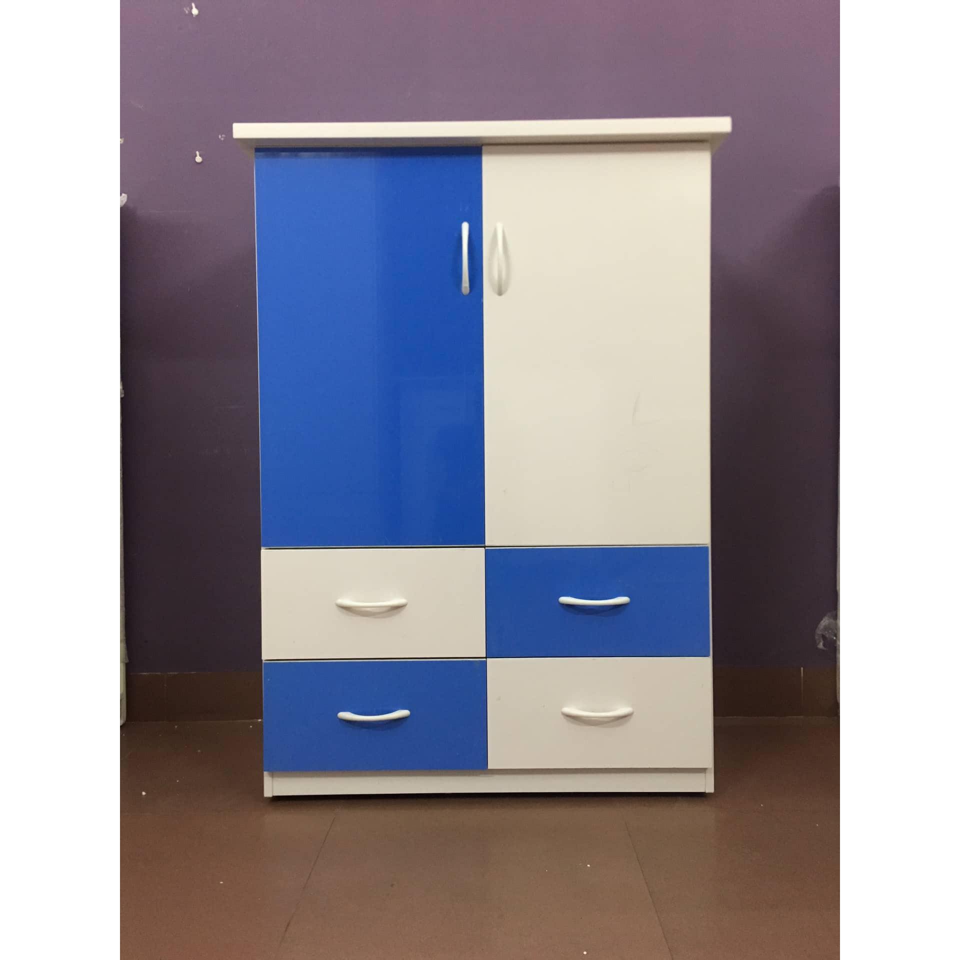 Tủ nhựa trẻ em 2 cánh 4 ngăn kéo - xanh trắng - V024