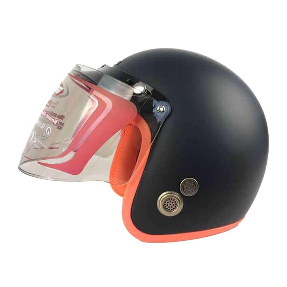 Mũ Bảo Hiểm Đẹp 3/4 lót màu Đen lót cam N033 có kính _ Mũ bảo hiểm phượt có kính chắn gió, chống bụi_ Kèm kính màu ngẫu nhiên