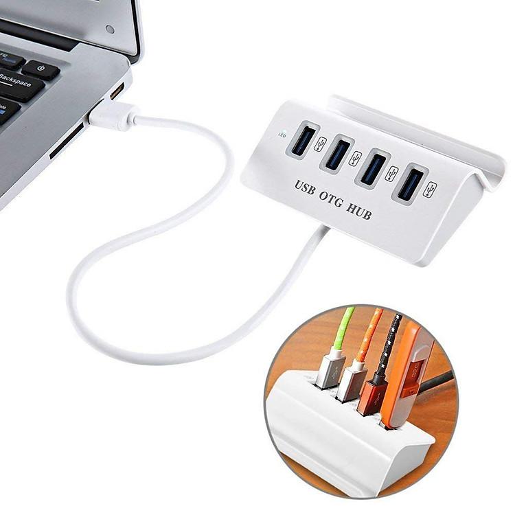 Hub OTG Chia 4 Cổng USB Đầu Type C Có Giá Đỡ Điện Thoại