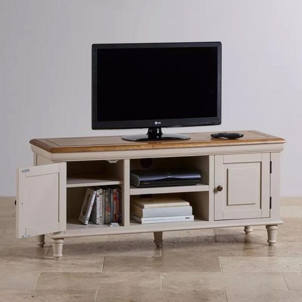 Tủ TV 2 Cánh Shay Gỗ Sồi Ibie LV2SHAO - Trắng (140 x 42 cm)