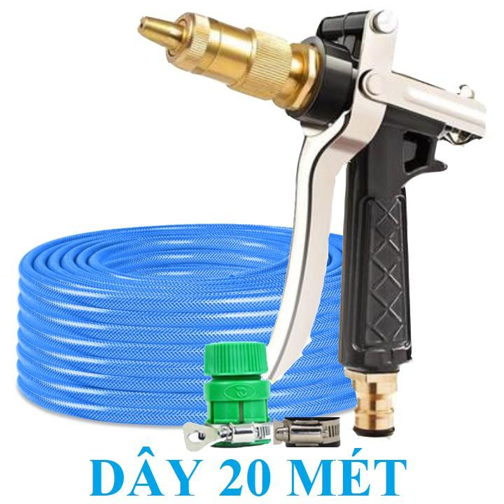 Bộ dây vòi xịt nước rửa xe, tưới cây . tăng áp 3 lần, loại 20m 206318 đầu đồng,đai,+ tặng đai