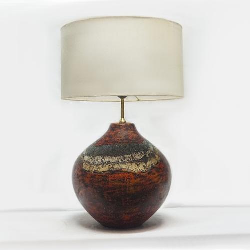 Đèn bàn decor gốm sơn mài - Đèn trang trí phòng khách, phòng ngủ - Gốm sứ Bát tràng Olympia, Chân đèn gốm sơn mài sang trọng và hiện đại
