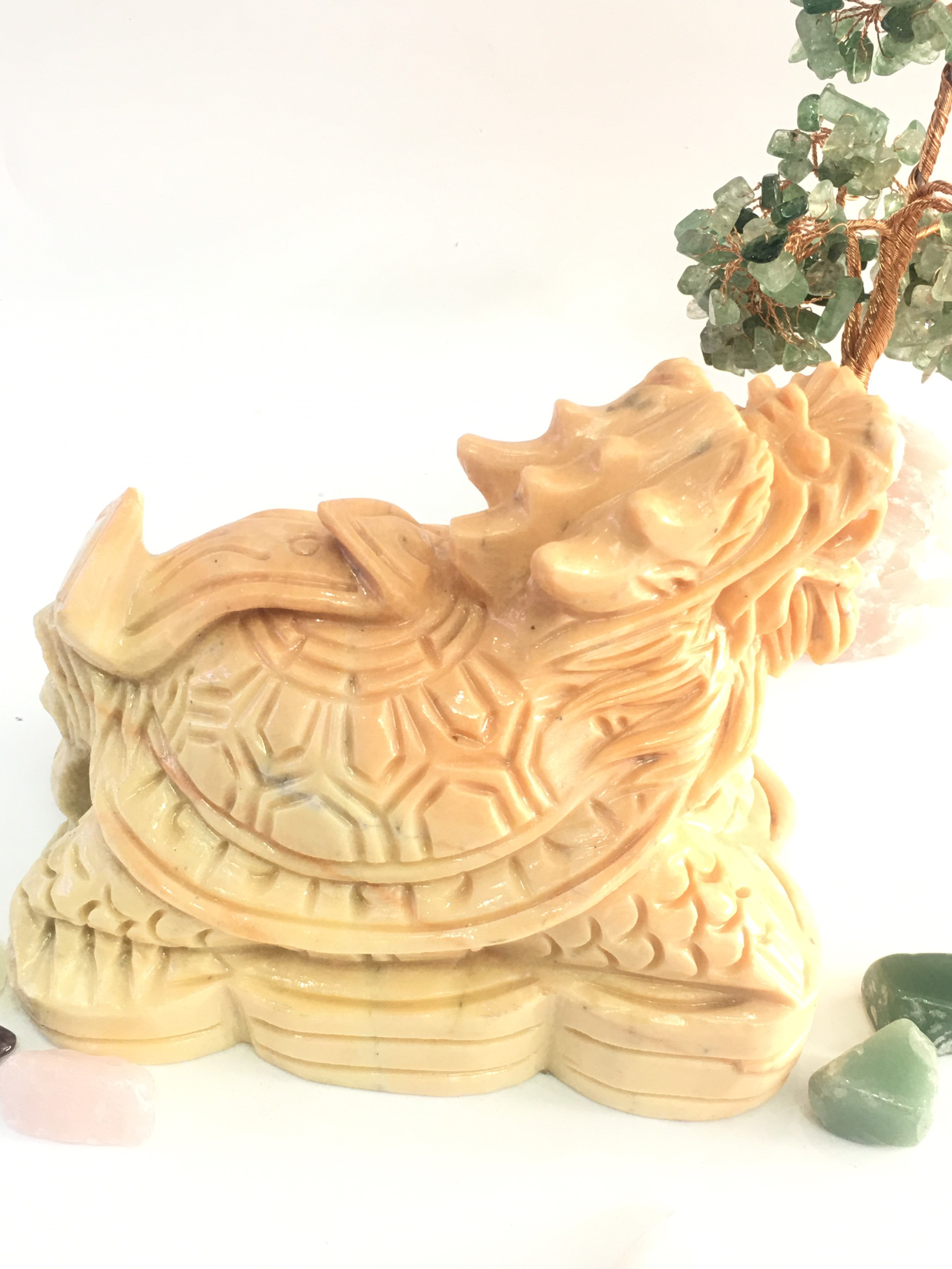 Long quy (Rùa đầu rồng) vàng - đá thiên nhiên Việt Nam 15cm