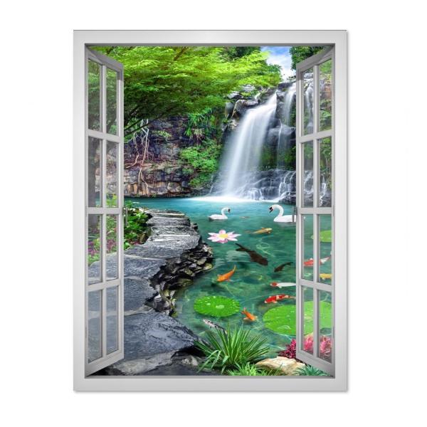 Tranh dán tường cửa sổ khổ dọc cảnh đẹp thiên nhiên - VT0403-D