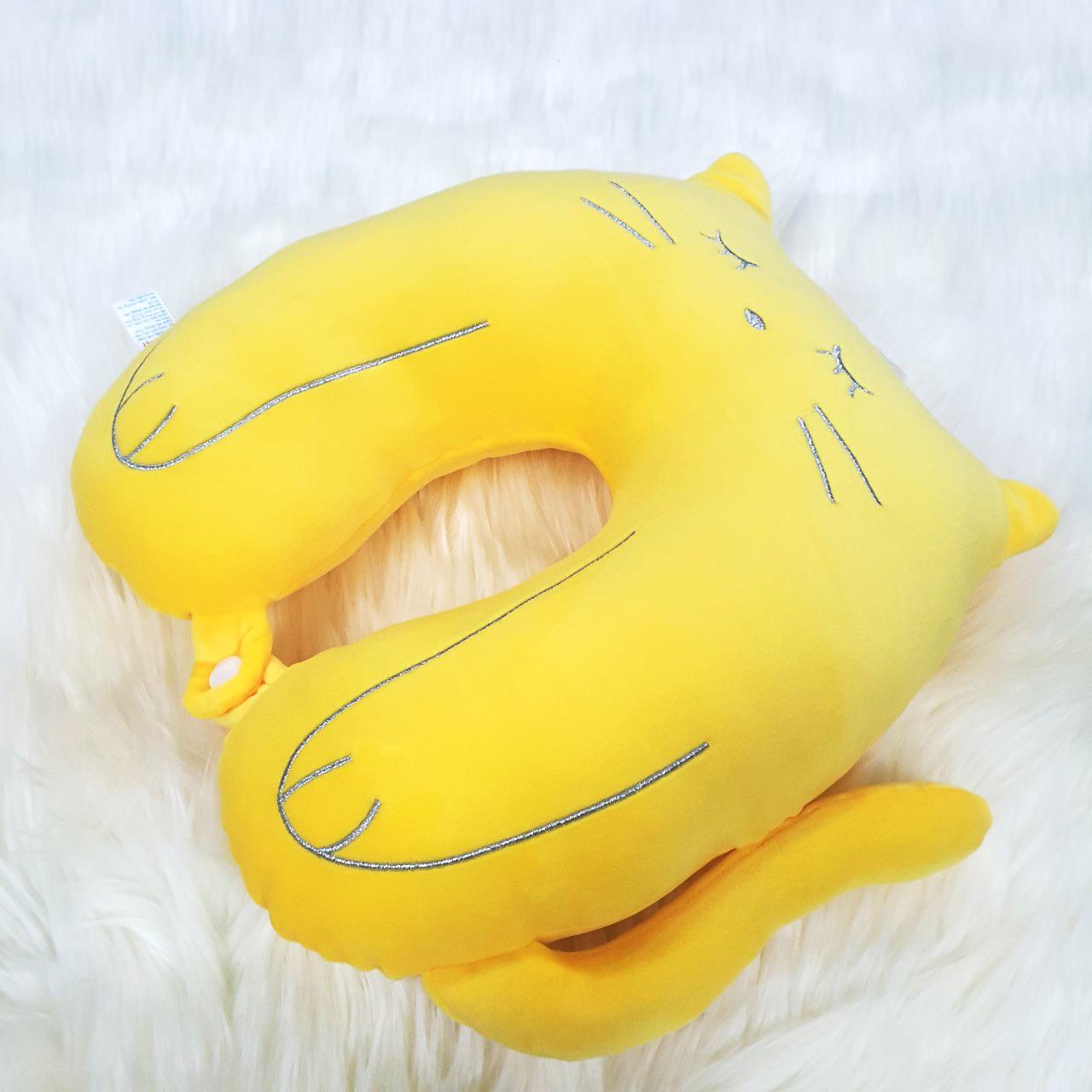 Gối chữ u tựa cổ vải nhung 4 chiều siêu mếm hình mèo màu vàng