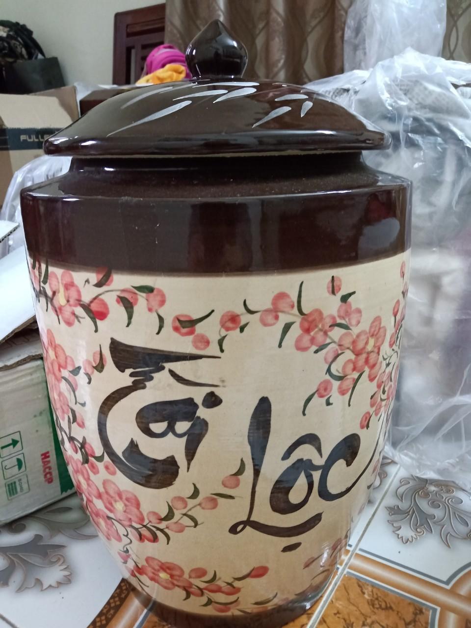 Hũ gạo tài lộc hoa đào Bát Tràng loại 15Kg