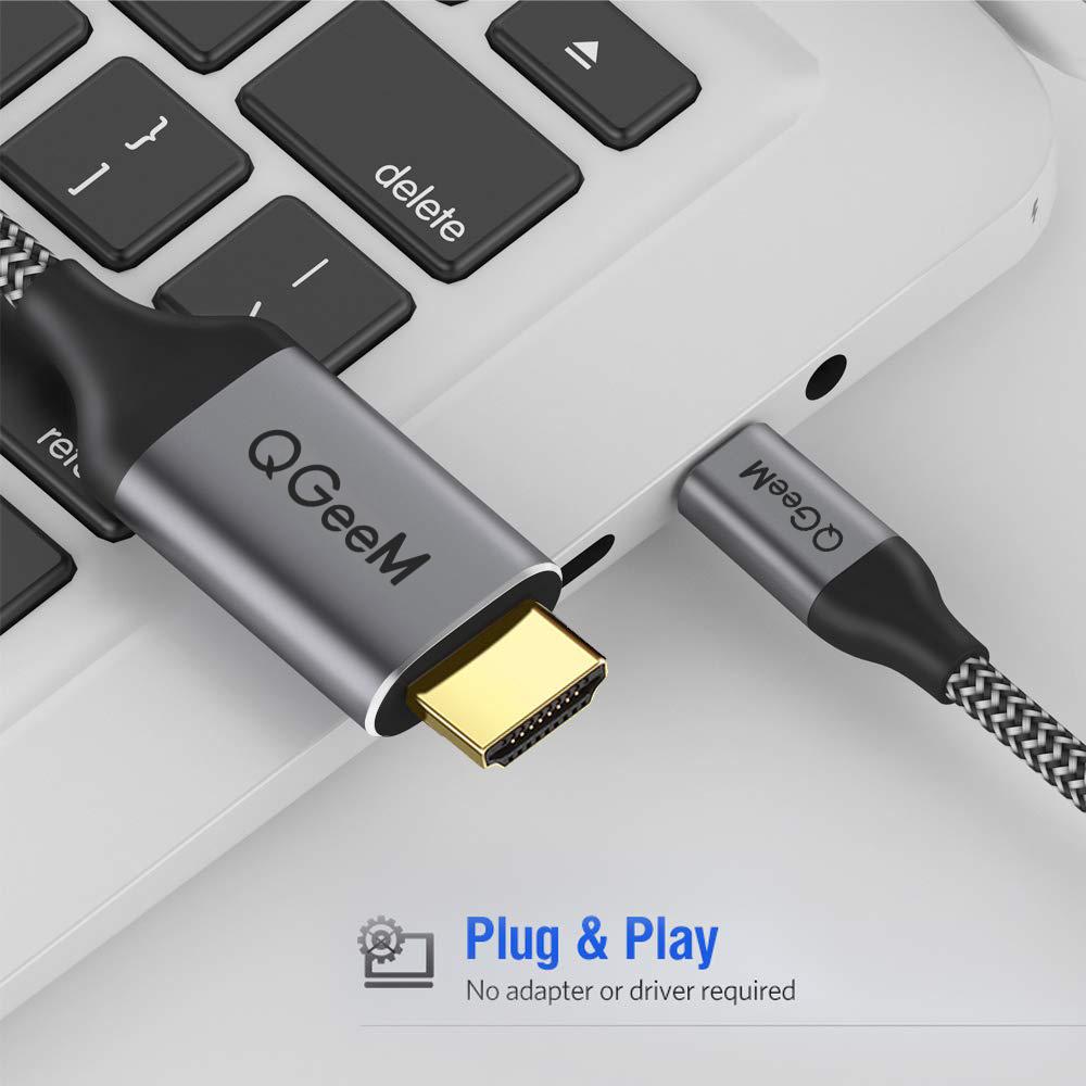Cáp chuyển đổi Type C sang HDMI QGeeM dài 1.2m 4K@60Hz (tương thích cổng Thunderbolt 3) cho iPad Pro,MacBook Pro 2018 iMac, Pixel,Galaxy S9 Note9 S8 Surface Book HDMI Type C-Hàng Chính Hãng