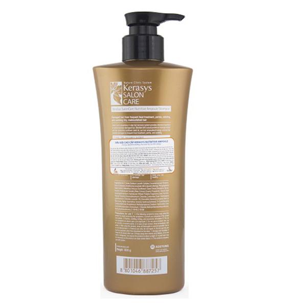Bộ dầu gội xả Kerasys Salon Care Nutritive - Dành cho tóc hư tổn Hàn Quốc 600ml tặng kèm móc khoá