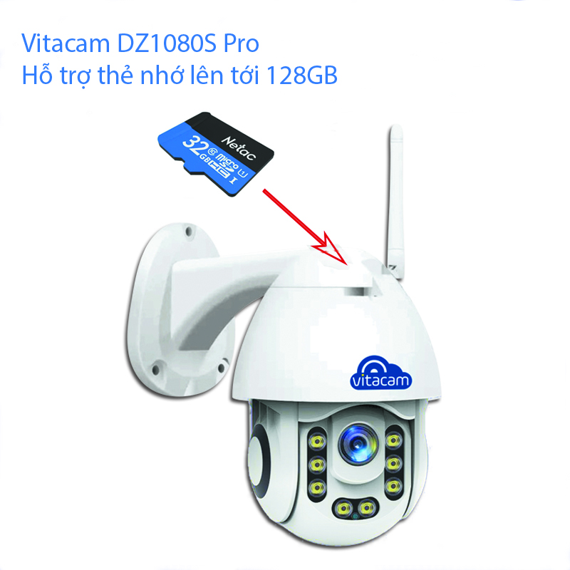 Camera IP Wifi Ngoài Trời Vitacam DZ1080S Pro 2.0mpx - Xoay 355 độ, đàm thoại 2 chiều - Hàng Chính Hãng