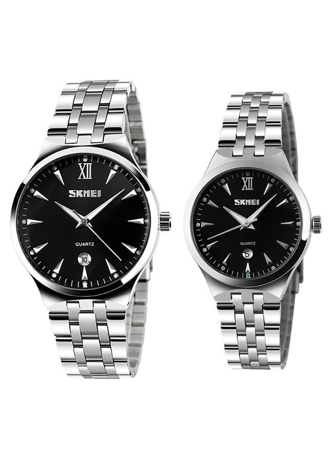 Đồng hồ cặp đôi dây thép không gỉ Skmei 90TCK71