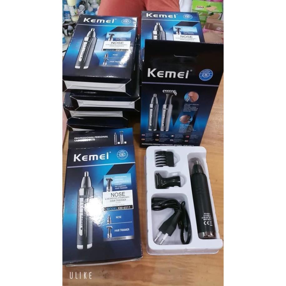 Máy cạo râu mũi và tai -Tông đơ/ tăng đơ cắt tóc km-6511- hỗ trợ sạc điện chuyên nghiệp dòng kemei