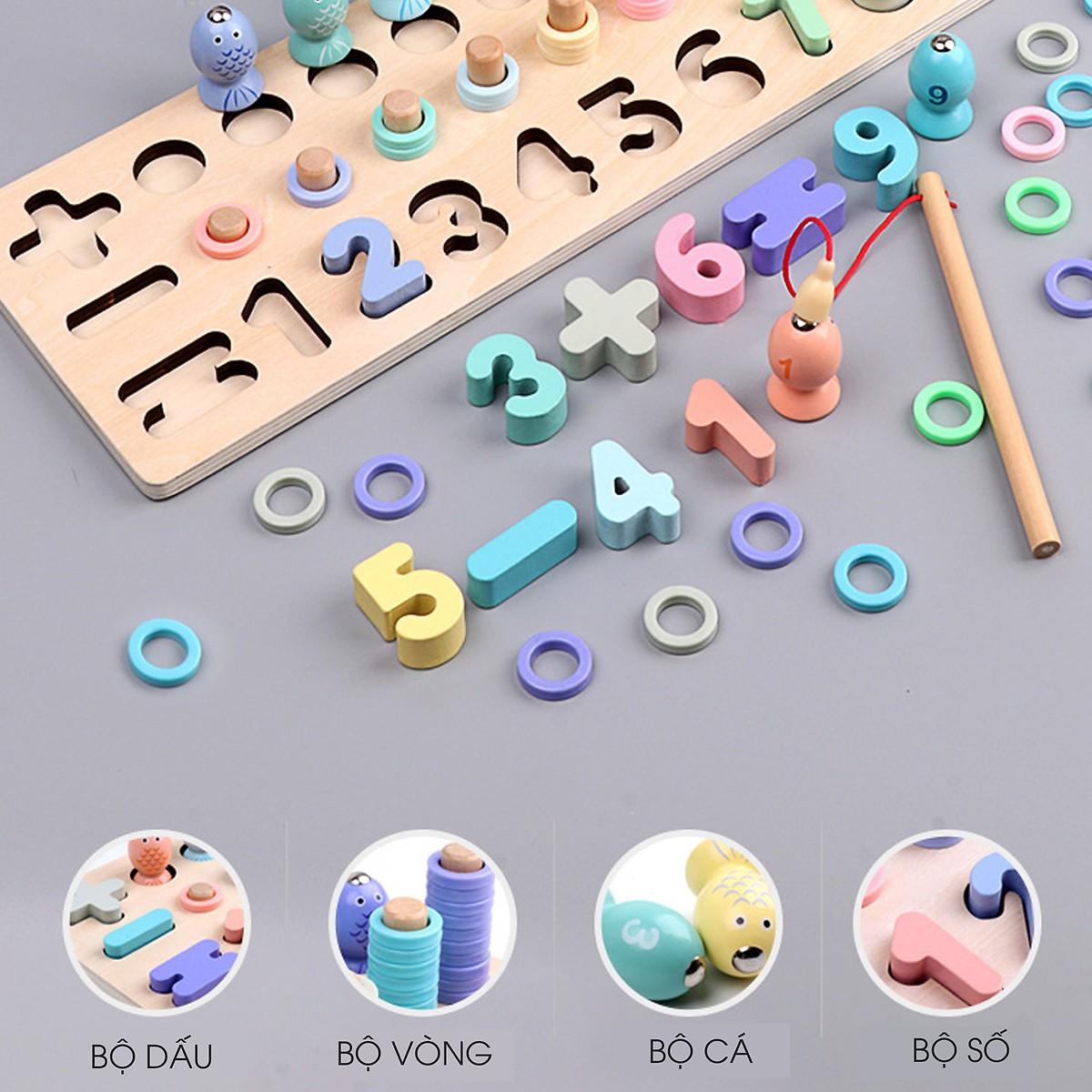 Đồ chơigiáo dục cho bé, Bảng lắp ghép số - hình trí tuệ kết hợp câu cá MK