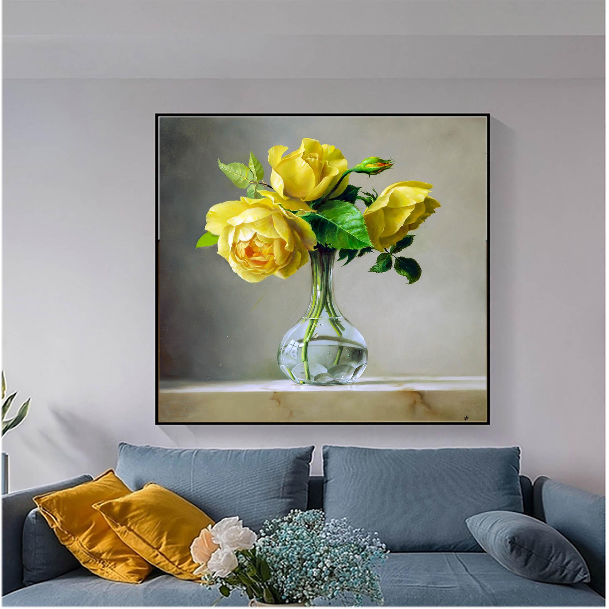 Tranh sơn dầu họa sỹ sáng tác vẽ tay: YELLOW ROSE