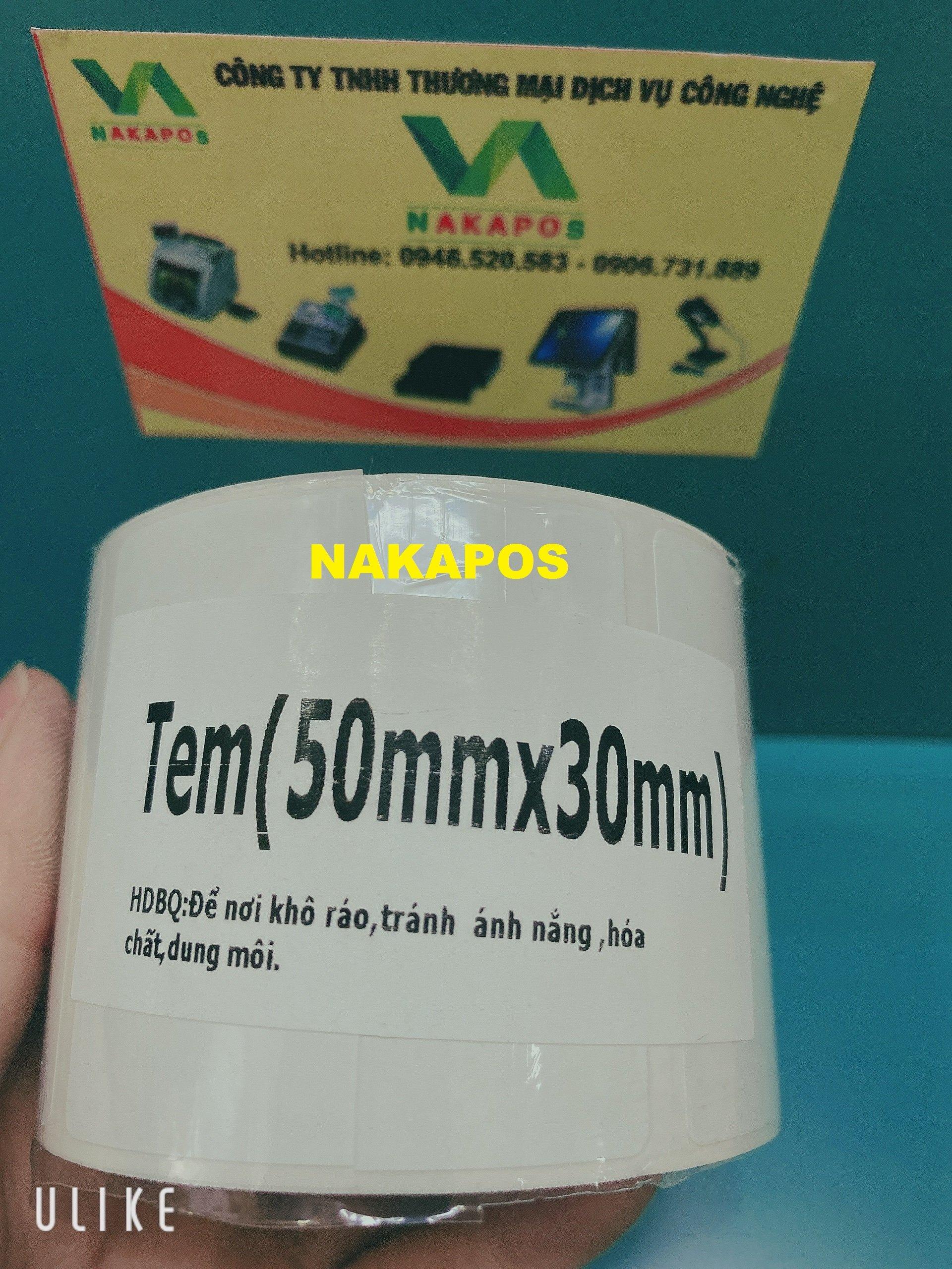 10 cuộn tem trà sữa dán ly kích thước 50x30mm (Hàng chính hãng) NAKAPOS