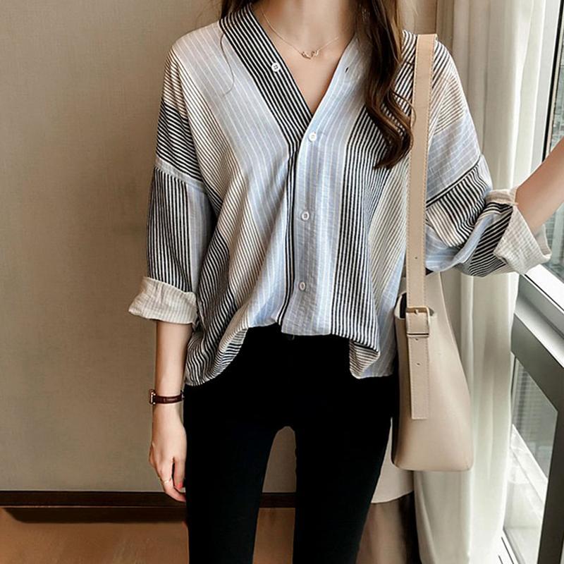 Women Loose Stripe Pattern Shirt V Neck Casual Shirt - Black Size XXXL