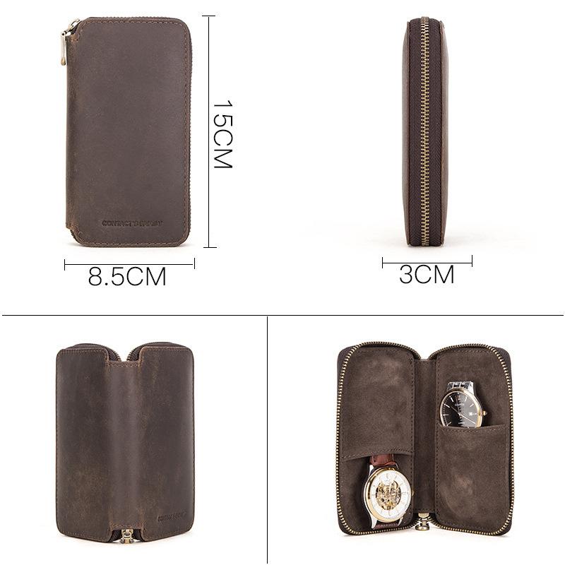 Bao Da Thật Contact's Family đựng Samsung Galaxy Watch / Apple Watch / Garmin / Huawei Watch / Đồng Hồ / Smartwatch (2 Cái) - Hàng Nhập Khẩu
