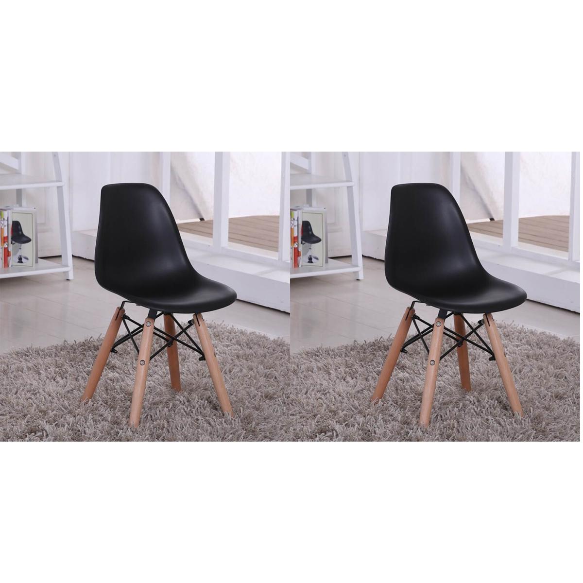 Bộ 2 ghế eames, ghế cafe, ghế ăn màu đen GA01