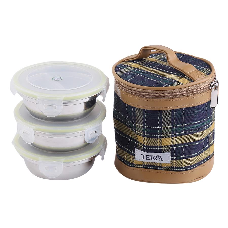 Hộp Cơm 3 Ngăn Inox Hàn Quốc Hình Tròn Có Nắp Đậy Và Túi Giữ Nhiệt Thời Trang Terra SL2 (3 Ngăn / 260ml)