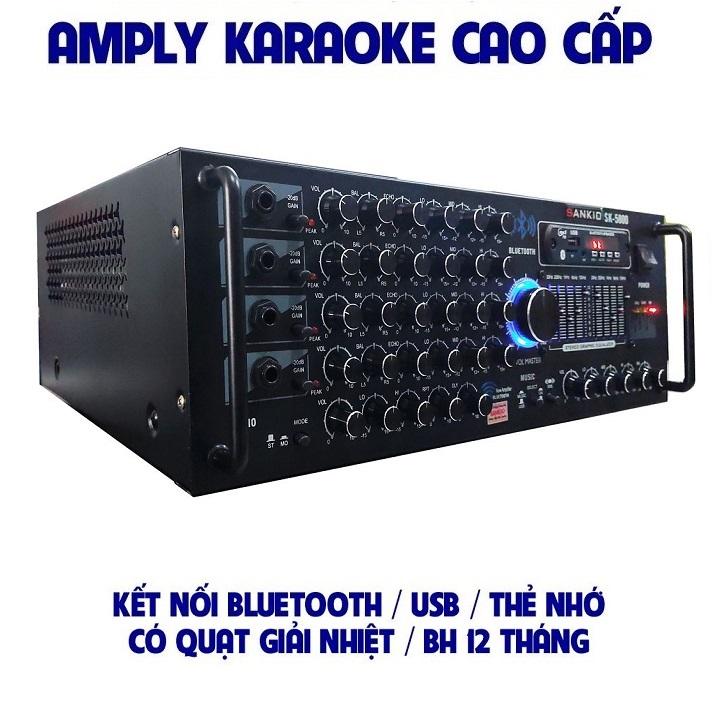 Ampli Bluetooth Sankio SK-5800 - Amply karaoke tích hợp lọc xì EQ, 12 sò lớn, 4 cổng Micro, có quạt gió - Hàng chính hãng cao cấp