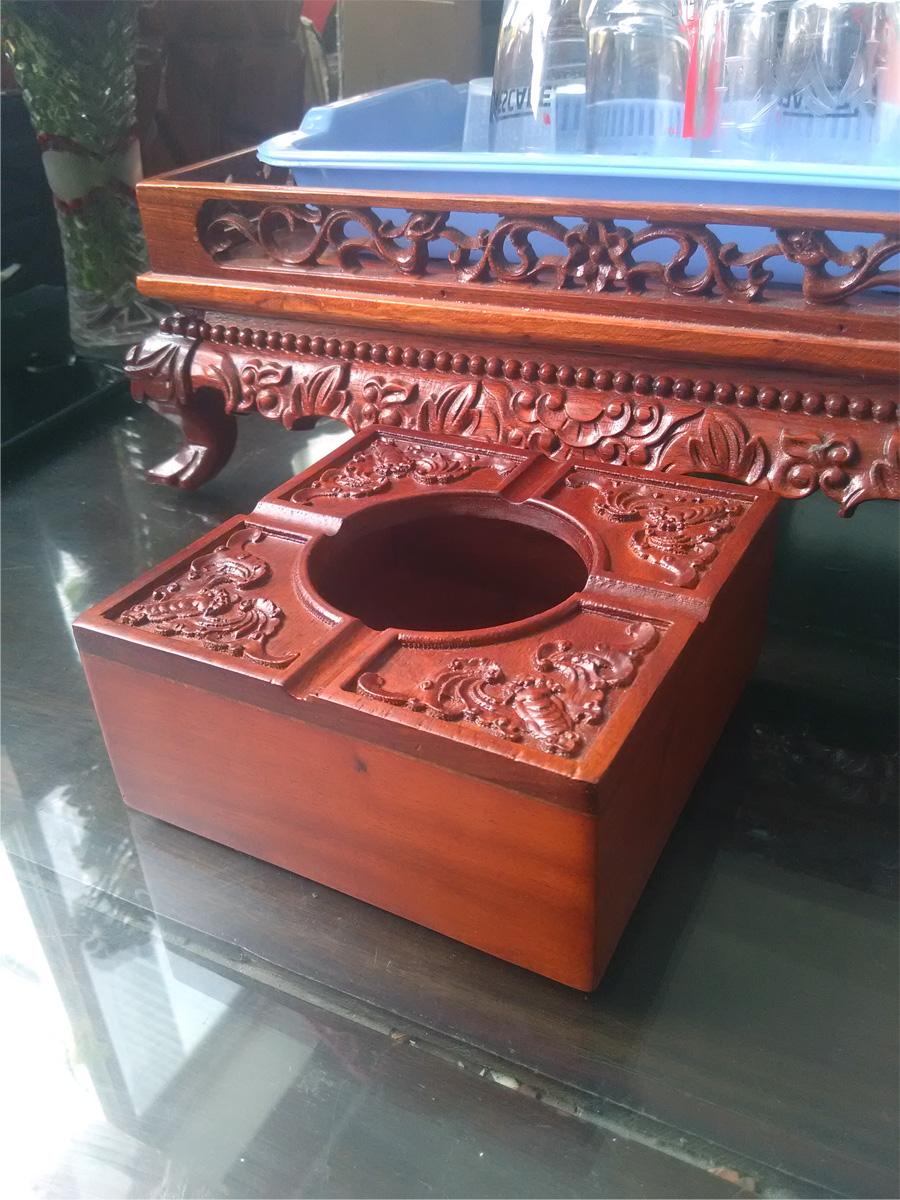 Bộ 3 món tiện ích bằng gỗ hương trạm khắc hộp Trà lớn, gạt tàn, hộp tăm - 3GTL02