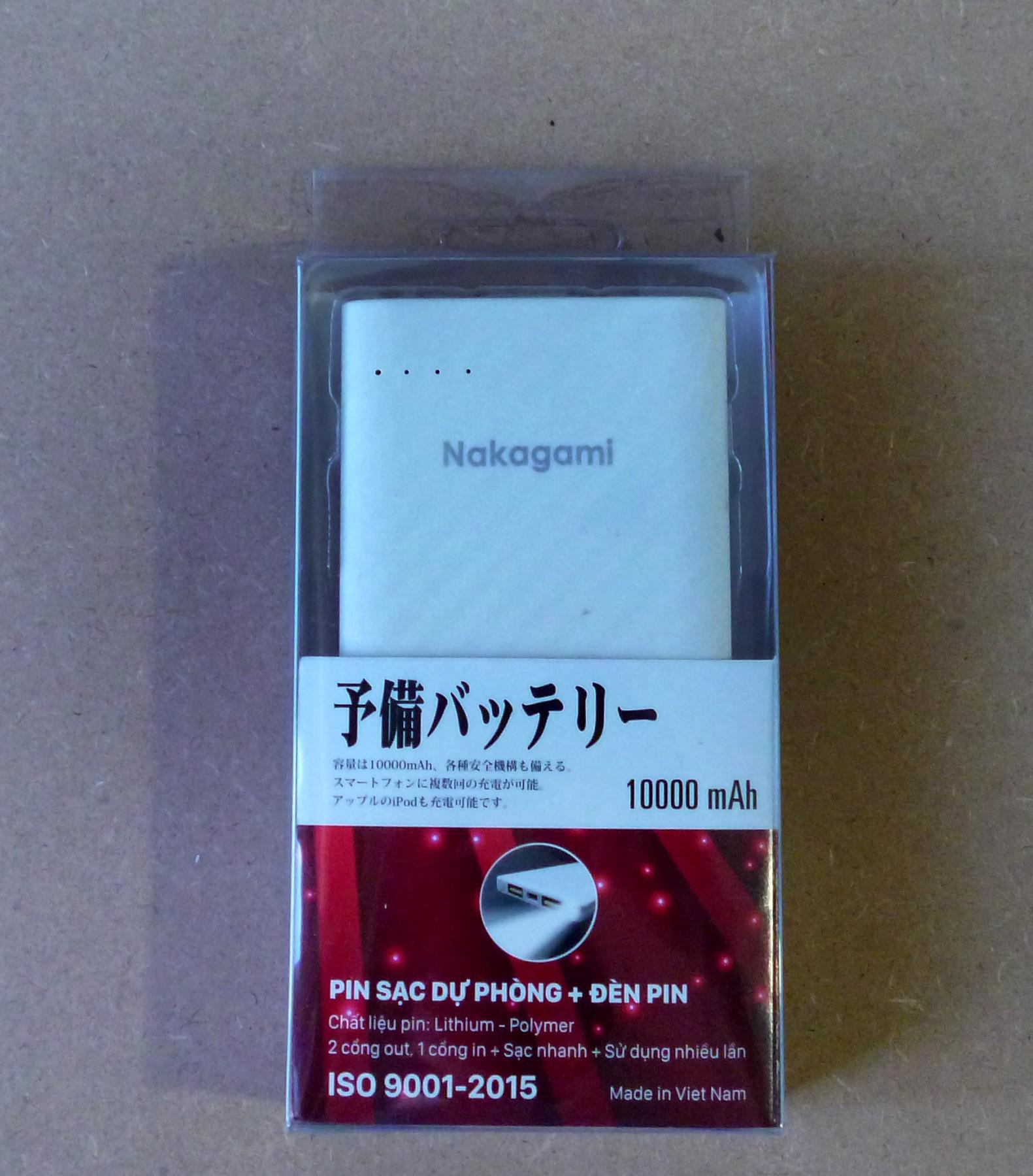 Pin sạc dự phòng Nakagami công nghệ Nhật Bản tích hợp đèn Flash  5000 - 10000 mAh -  2 cổng sạc (1 sạc nhanh) - Hàng chính hãng - Màu ngẫu nhiên
