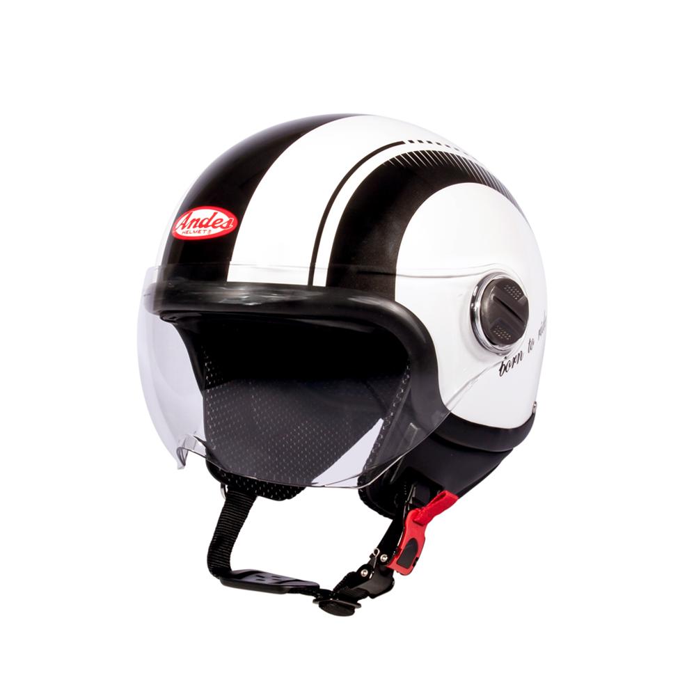 Mũ Bảo Hiểm Andes 3/4 Đầu Có Kính - 3S103DL Tem Bóng W331 - Trắng Phối Đen
