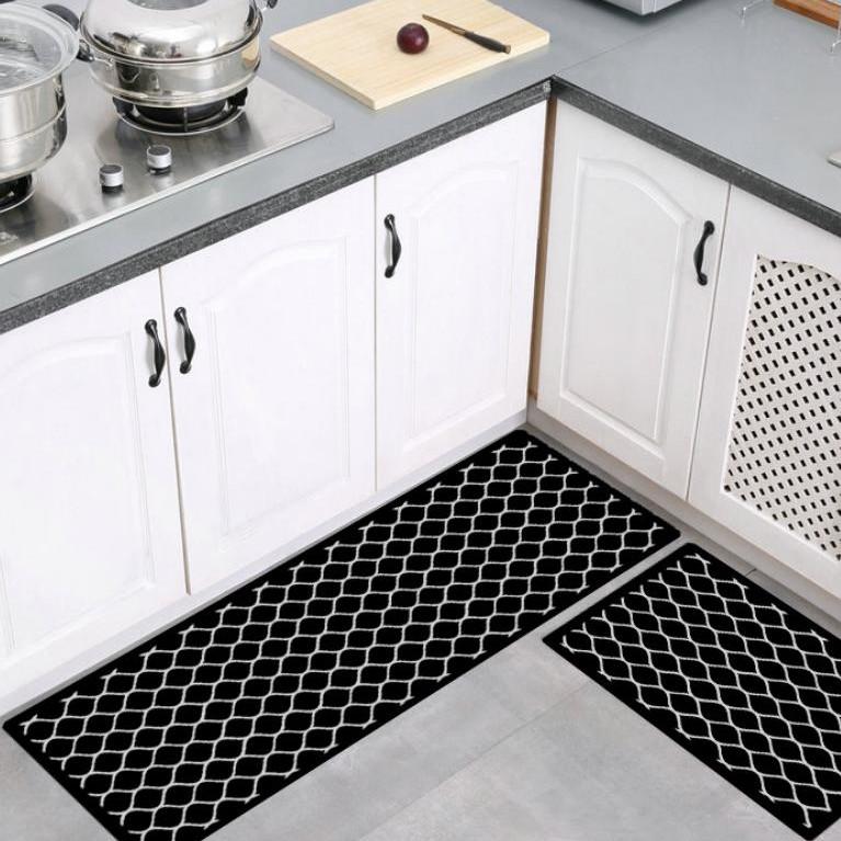 Bộ hai tấm thảm bếp, thảm trải sàn, thảm chùi chân, thảm trang trí XOẮN ĐEN A18