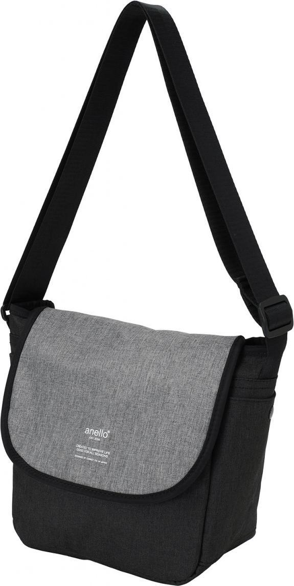 Túi đeo chéo ANELLO unisex vải polyester cỡ nhỏ AT-N0661 - Màu Đen phối Xám