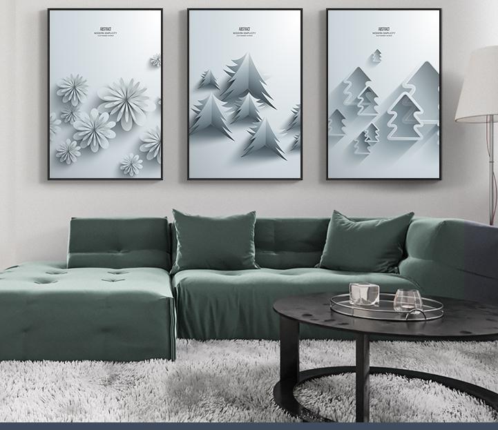 Tranh phong thuỷ Mica 3 bức Rừng thông và những bông tuyết trắng trừu tượng (Đại Lâm Mộc). Model: AZ3-0084. Khung nhôm hoặc Composite. Hình ảnh sắc nét, sang trọng, phù hợp nhiều không trang trí