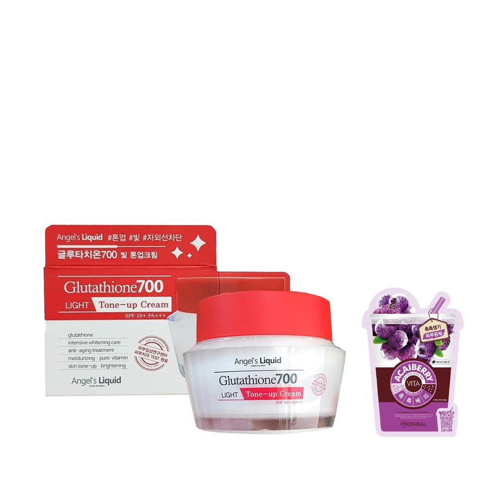 Kem dưỡng ban ngày  trắng sáng da, bật tone Angel's Liquid Glutathione 700 Light Tone-up Cream SPF50+ PA+++ 50ml + Tặng Kèm 1 Mặt Nạ Trái Cây ( Loại Ngẫu Nhiên)
