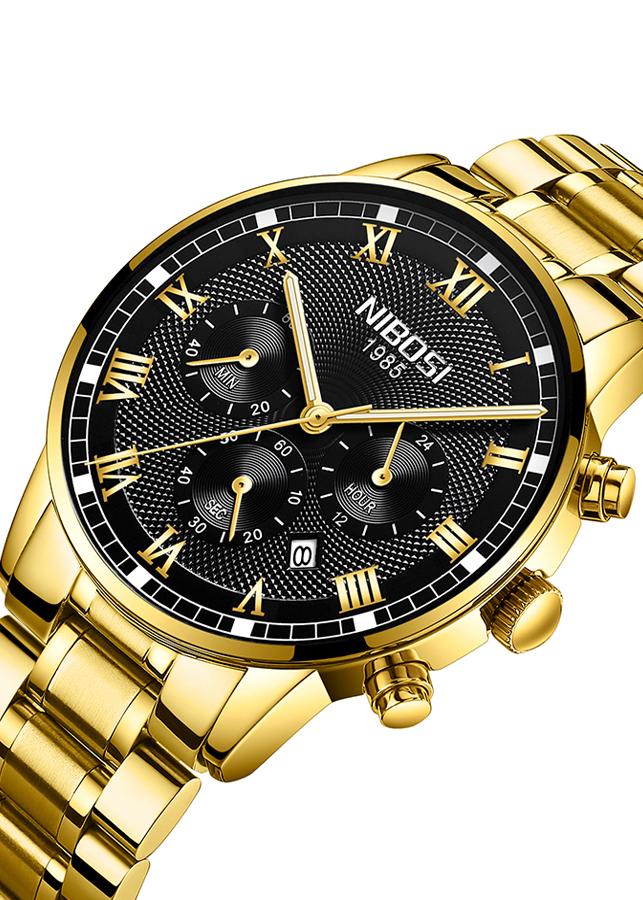 Đồng hồ nam NIBOSI 2339 dây thép đúc mặt 43mm chạy 6 kim JS-2339S
