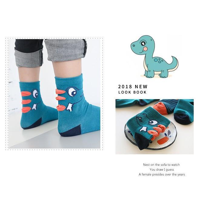 Set 5 đôi tất khủng long cho bé trai, tất cao cổ cho bé mẫu mới 2018