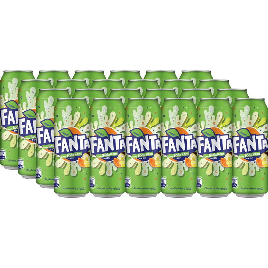 Thùng 24 Lon Nước Giải Khát Có Gas Fanta Soda Kem 320ml x 24
