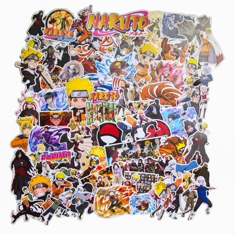 Set 100 sticker hình dán laptop mũ bảo hiểm xe máy xe hơi chủ đề Naruto