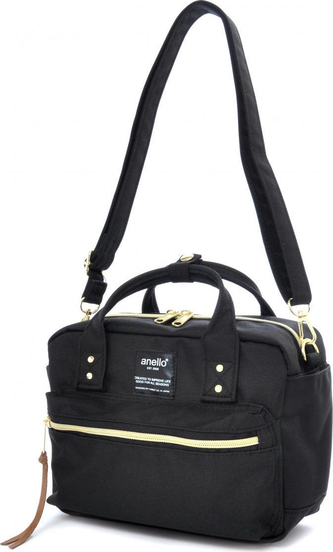 Túi đeo chéo ANELLO đeo 2 kiểu vải polyester cỡ nhỏ AT-C1223 - Màu Đen