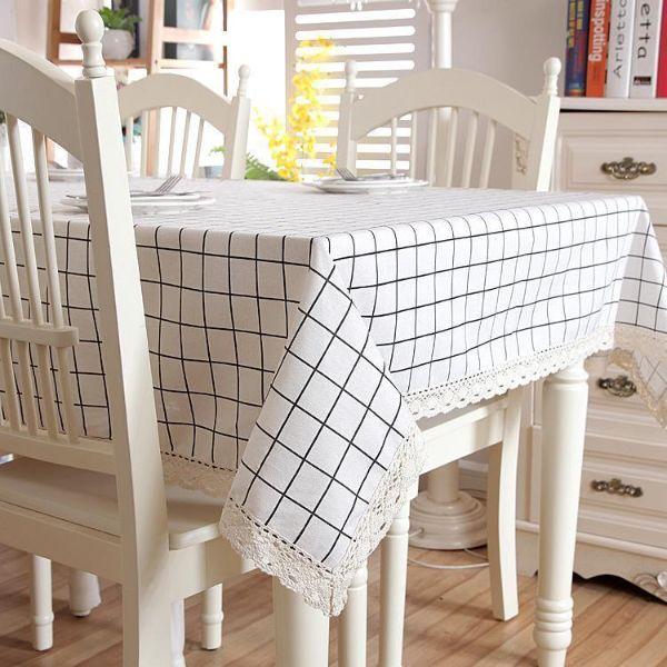 Khăn trải bàn vải canvas ca rô trắng kem - viền ren xinh xắn