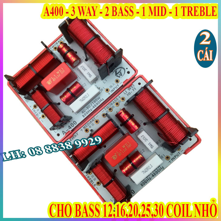 CẶP MẠCH PHÂN TẦN 3 ĐƯỜNG TIẾNG LWA400 - 1 BASS 1 TRUNG 1 TREBLE - GIÁ 2 CÁI