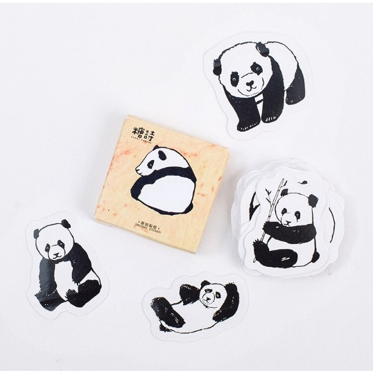 Hộp 45 Miếng Dán Sticker Trang Trí Gấu Trúc