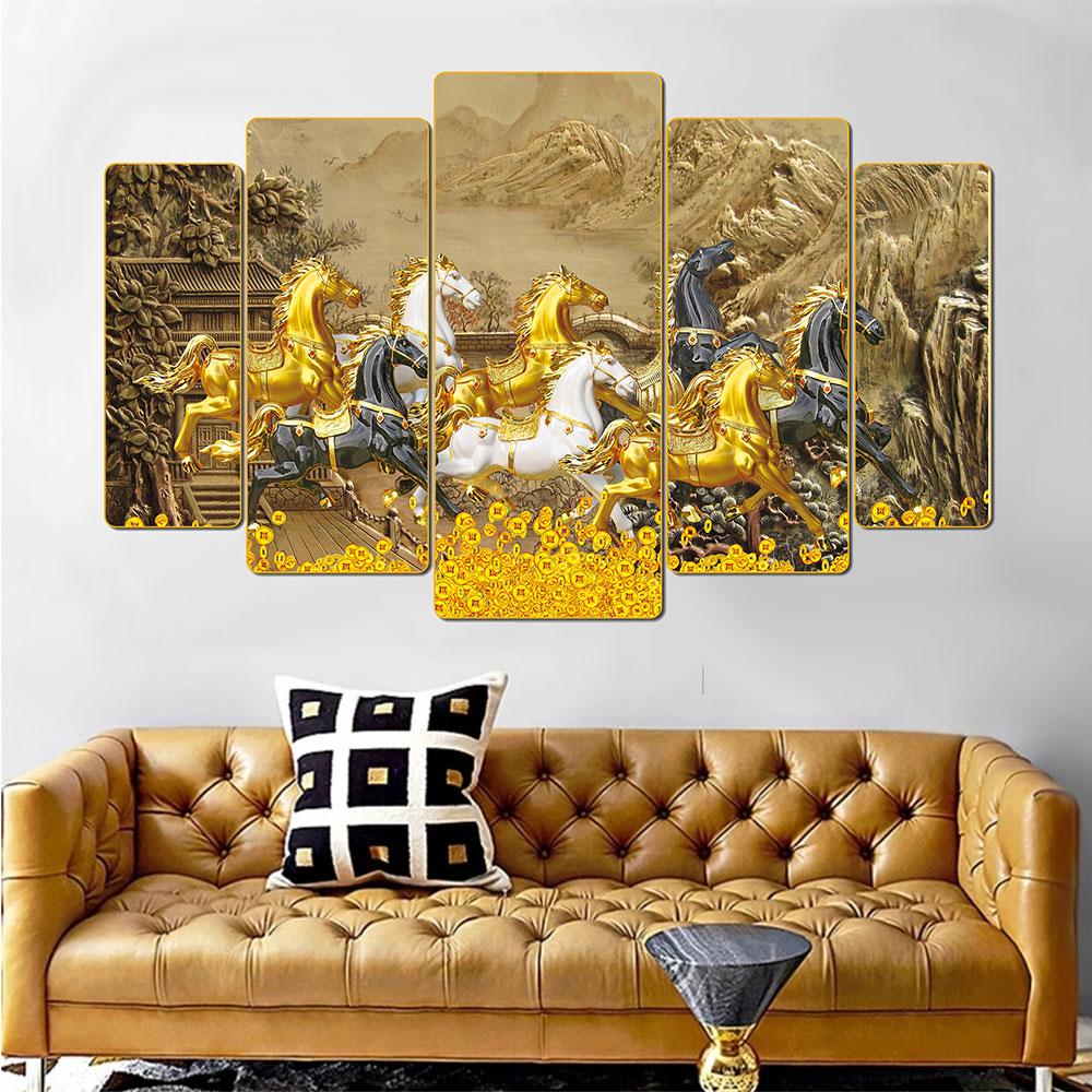 Tranh treo tường 5 tấm trang trí phòng khách, phòng ngủ, phòng ăn Mã Đáo Thành Công: 1308L5