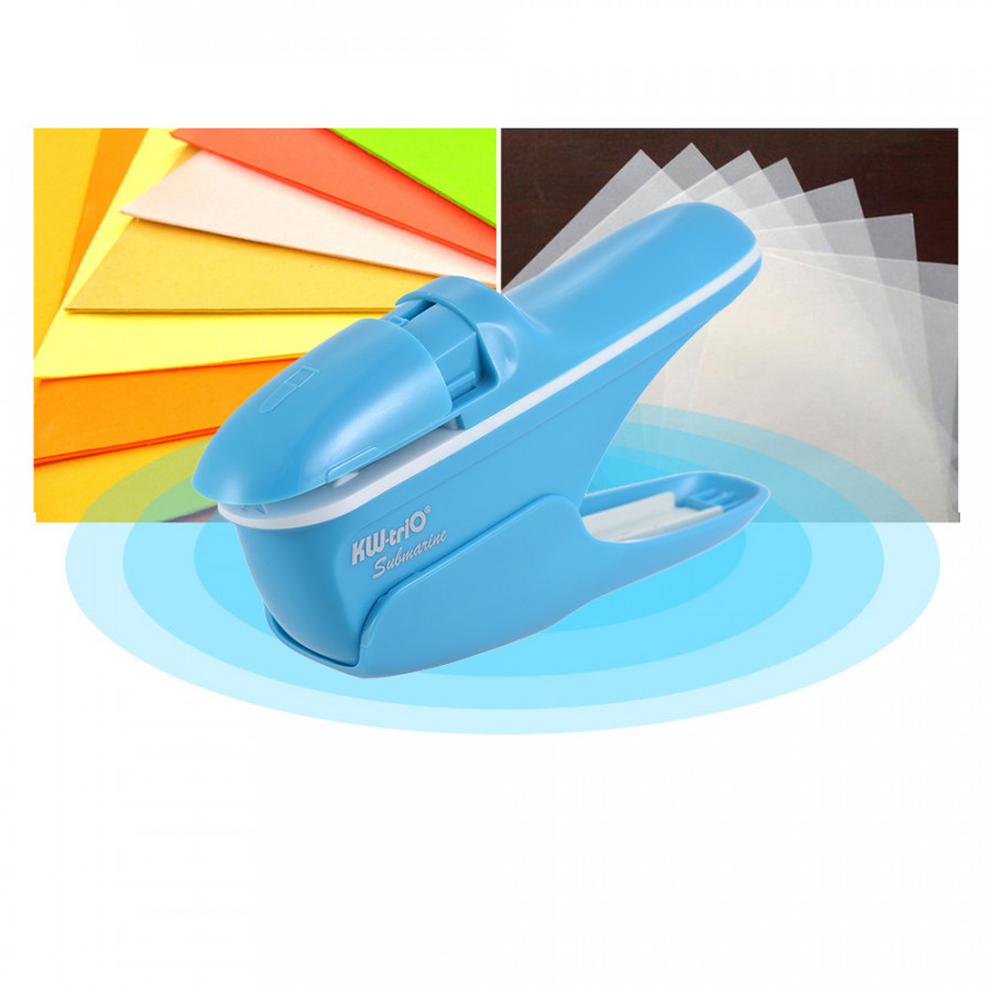 Hand-held Mini Safe Stapler without Staples Staple Free Stapleless 7 Sheets Capacity for Paper Binding Business - Blue