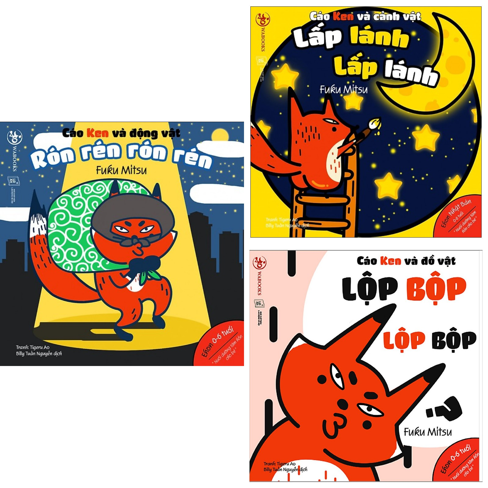 Combo 3 Cuốn Ehon Nhật Bản Những Điều Kỳ Diệu Của Âm Thanh: Cáo Ken Và Động Vật - Rón Rén Rón Rén + Cáo Ken Và Đồ Vật - Lộp Bộp Lộp Bộp + Cáo Ken Và Cảnh Vật - Lấp Lánh Lấp Lánh (Bộ Sách Nuôi Dưỡng Tâm Hồn Cho Bé 0 - 6 Tuổi/ Tặng kèm Bookmark Happy Life)
