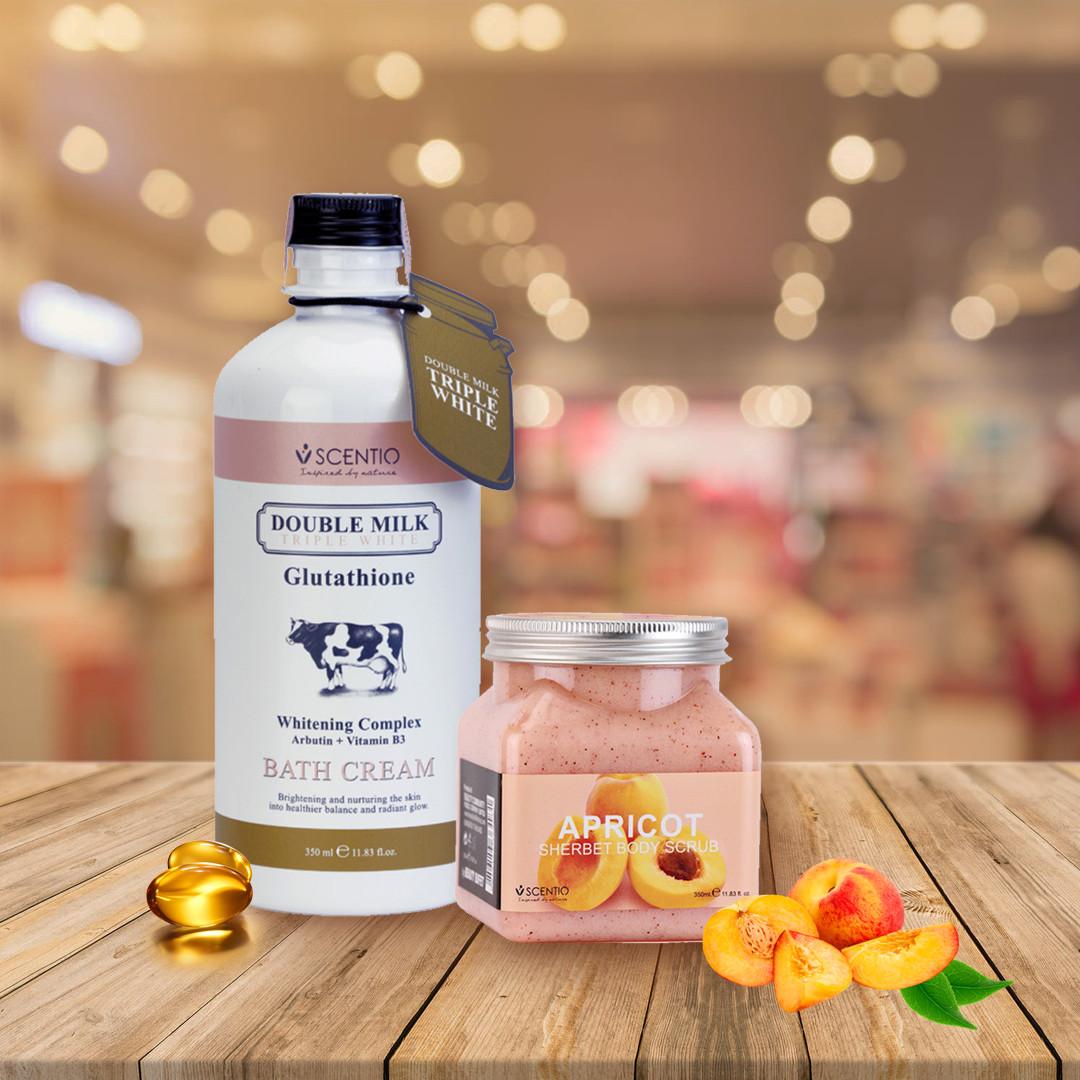 Combo Sữa Tắm Trắng Da Double Milk Và Tẩy Tế Bào Chết Body Dưỡng Ẩm Hương Mơ Scentio Apricot 350ml