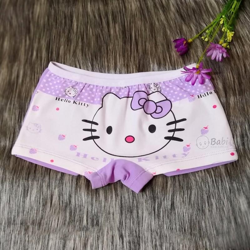 Set 4 chiếc quần chip đùi bé gái họa tiết chú mèo dễ thương, quần chip 100% cotton